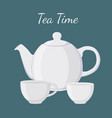 white teapot and cup vector image vector image