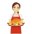 Woman with turkey vector image vector image