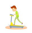 young man running on a treadmill sport man vector image
