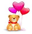 Cute teddy bear with in heart shape balloons vector image