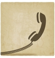 handset symbol old background vector image