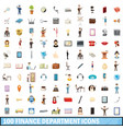 100 finance department icons set cartoon style vector image vector image