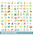 100 logistic icons set cartoon style vector image vector image