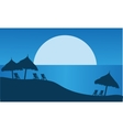 At night silhouette of summer scenery vector image vector image