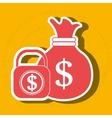 bag money padlock dollar vector image