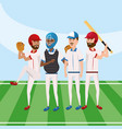baseball team player competition game vector image vector image