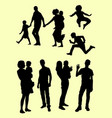 black silhouette family vector image
