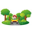 boy driving yellow car on the road vector image