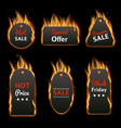 burning price tag clothing label set with vector image vector image