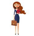 business carroty woman with glasses office worker vector image
