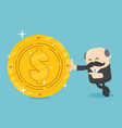 business concept businessmen hold a huge dollar vector image