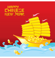 Chinese New Year Golden Ship with Gold vector image vector image