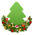 christmas decoration with paper fir tree vector image vector image
