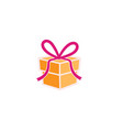 creative gift box logo vector image vector image