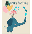 cute elephant and little mouse holding umbrella vector image