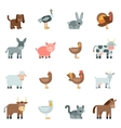 Domestic Animal Flat Icons Set vector image