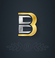 elegant gold and silver font Letter B Template for vector image