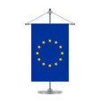 european union flag on the cross metallic pole vector image vector image