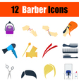 Flat design barber icon set vector image vector image