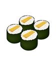 Fried Egg Sushi Roll or Tamagoyaki Maki on White vector image vector image