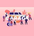 garage service concept men characters in uniform vector image vector image