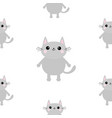 gray cat head hands with paw print cute cartoon vector image vector image