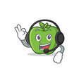 green apple character cartoon with headphone vector image vector image