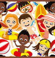 happy children on beach vector image vector image