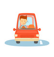 happy man driving a red car business man is going vector image vector image