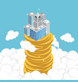 isometric business building on stack of coin vector image