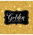 label frame silhouette on gold glitter vector image