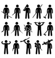 man holding and using weapons stick figure vector image vector image