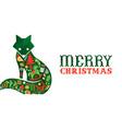 merry christmas retro watercolor folk fox banner vector image vector image