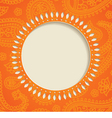 Orange paisley frame vector image vector image