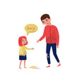 polite little girl apologizing to young guy for vector image