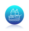 sailing vessel line icon ship pictogram vector image vector image