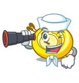 sailor with binocular cd player mascot cartoon vector image vector image