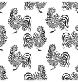 Seamless pattern background with roosters Black vector image