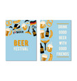 set of 2 cards for the beer festival drink good vector image