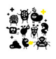set of halloween black monster silhouettes vector image