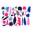set of hand-drawn bright tropical plants vector image vector image