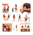 street food trolley and truck cafe and store vector image