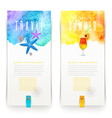 Summer and travel watercolor banners - vector image vector image