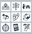 travel related icons set vector image vector image