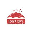 umbrella symbol and water drop grunge keep vector image