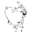 Valentine frame with bird vector image