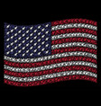 waving american flag stylization of space rocket vector image