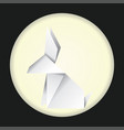 white origami rabbit vector image vector image
