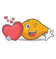 With heart conchiglie pasta mascot cartoon