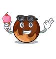 with ice cream chocolate donut character cartoon vector image